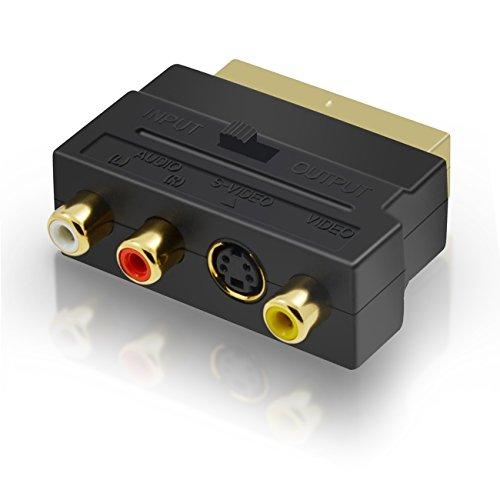 Act Scart Adapter 3x Cinch Buchsen in/out Umschalter und S-Video / S-VHS AV Audio, Video Adapter - Scart RCA Konverter mit vergoldeten Steckverbindern