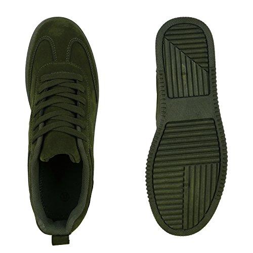 Damen Sneakers Sneaker Wedges Mini-Keilabsatz Schuhe Dunkelgrün