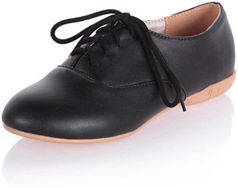 ZQ Zapatos de mujer - Tacón Plano - Comfort / Punta Redonda - Oxfords - Vestido / Casual - Semicuero - Negro /...