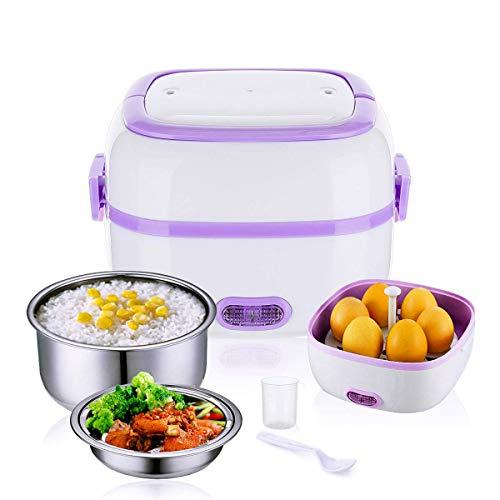 AIQQ Elektrische lunchbox Elektrisch Edelstahl Bewegliche Nahrungsmittelheizung Mini Reiskocher Topf mit Herausnehmbarem Edelstahleinsatz 1L-Umweltfreundliche Lunchbox für Erwachsene und Kinder 220V