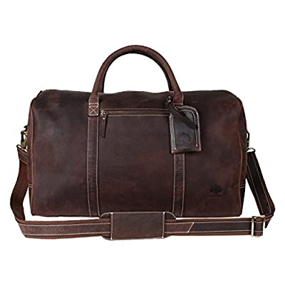 Rustic Town Crazy Horse Leather Duffel Bag Gift for men Leather Travel Bag (Dark Brown)