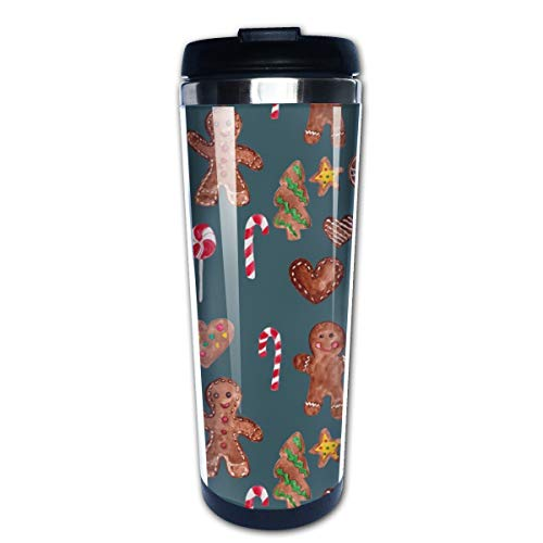 Gingerbread Christmas Spectra Teal Multi Insulated Stainless Steel Travel Mug 14 oz Classic Lowball Tumbler with Flip Lid - 14 Oz Commuter Mug