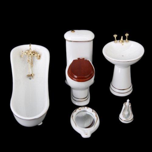 Und Wc Waschbecken Puppe, (exoh 1/12Puppenhaus Badezimmer Möbel Set Bad + WC + Waschbecken + Spiegel + Pinsel Ständer --- weiß und gold)