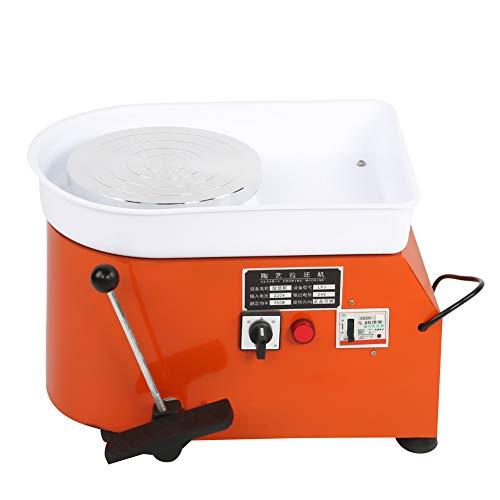Elektrische Töpferscheibe Maschine,Orange 350W-Keramikradmaschine Keramik-Wurfformwerkzeug DIY Clay Shaping Tool,Dreht Sich Reibungslos Geringem Rauschen für den Schulunterricht und Baumarkt(EU)