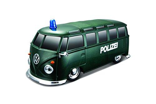 """Maisto Tech R/C VW Bus \""""Polizei\"""": Ferngesteuertes Auto mit Licht & Sound, Maßstab 1:24, Pistolengriff-Fernsteuerung, 5.8 km/h, 20 cm, grün (582091P)"""