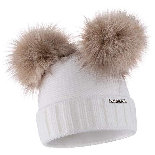 PaMaMi - Gorro de Invierno térmico para Mujer, Gorro de Punto con Dos borlas, Gorro de Punto Suave con Forro Polar, Blanco