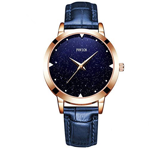 SUNMEI Damen Uhr Analog Quarz mit Leder Armband 9