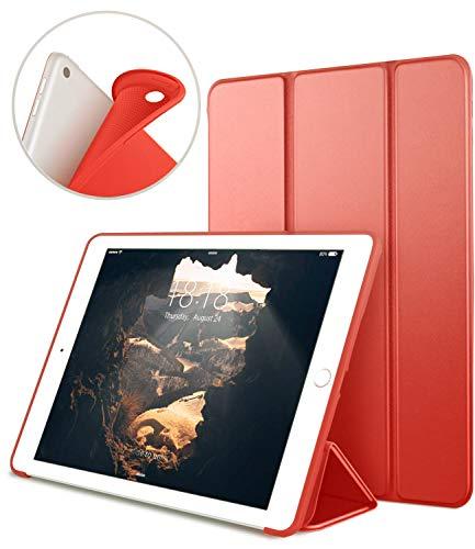 VAGHVEO Funda iPad 9.7' 2018/2017, Cubierta Estuche Plegable [ Auto-Sueño/Estela ] Carcasa TPU Suave Smart Cover para Apple iPad 5ª / 6ª Generacion (A1893 / A1954 / A1822 / A1823), Rojo