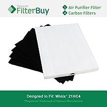 Winix 115115filtro True HEPA y 4filtros de carbono. Diseñado por filterbuy WINIX Plasma Wave purificador de aire modelos WAC5300, WAC5500, wac6300.