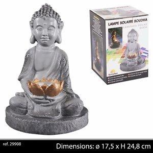 LIFE DECO Lampe Solaire BOUDHA pour Jardin Exterieur Zen Statue Decoration Fleur DE Lotus
