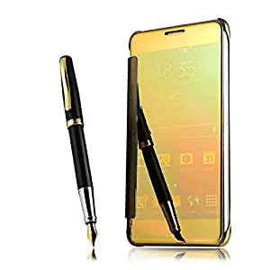 KAYZZ Clear view Mirror Flip Smart Cover Case for Samsung Galaxy S8 -Gold