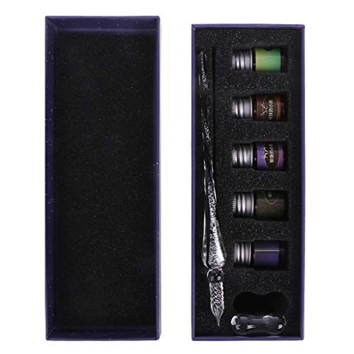 Lamdoo Pen Set Geschenk Kristall Sternenhimmel Glas Ink Pen Glas Dip Pen Für Schreiben Füllfederhalter Set Geschenk B Glas Dip