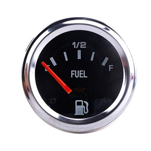 perfk Schwarz Tankanzeige Kraftstoffanzeige Tankuhr für Auto Motorrad, 12V Benzinfahrzeug