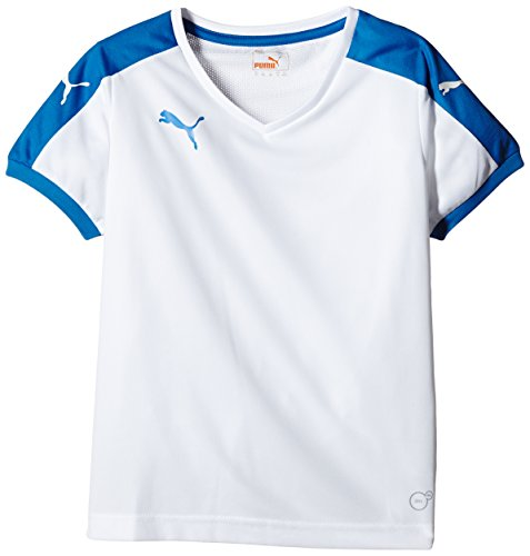 Puma Unisex-Kinder T-Shirt Pitch, White/Puma Royal, Gr. 13-14 Jahre (Herstellergröße: 164)