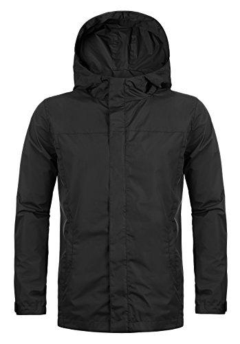 Hasuit Homme Veste Coupe-Pluie Manteaux Imperméables à Capuche Pliable Zippé Casual Manches Longues