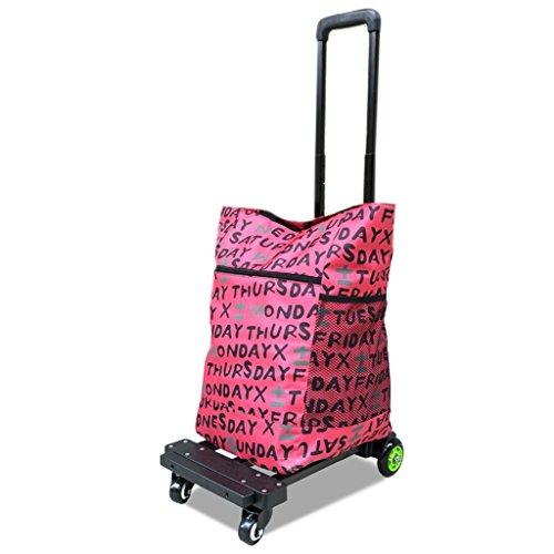 Hand-LKW DELLT Vier Runden Universal-Rad-Laufkatzen-Anhänger-Haushalts-Falten-Einkaufswagen-Zug-Rod-Auto-tragbarer Laufkatzen-Gepäckwagen mit Stoff-Tasche 50 Kilogramm-Last (Farbe : #1)