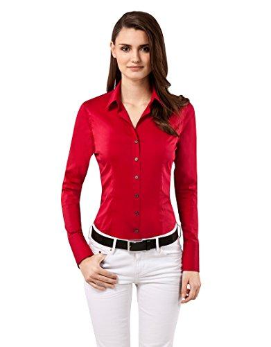Vincenzo Boretti Damen Bluse Besonders Tailliert mit Stretch Langarm Hemdbluse Elegant Festlich Kent-Kragen Auch für Business und Unter Pullover Rot 36