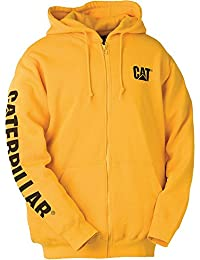 Caterpillar Mens W10840 Full Zip Polycotton Hooded Sweatshirt