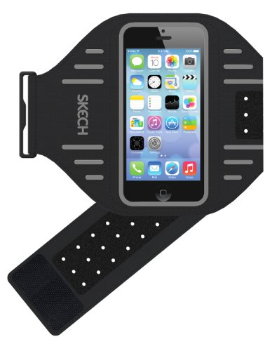 Skech IPH5-AB-GRY Sportarmband für Apple iPhone 5/5S/5C/SE/iPod Touch 5G schwarz/grau (Case Musik Touch 5 Ipod)