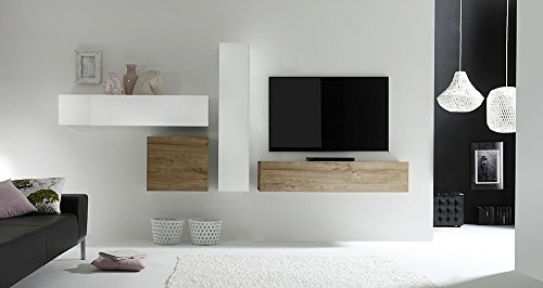 Sodani parete attrezzata mobili salotto 4 mobili sospesi 169x327x31cm cube bianco lucido e miele