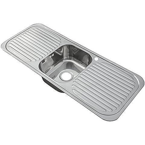 Inserto in acciaio inox per lavello cucina, con ciotola, scolapasta
