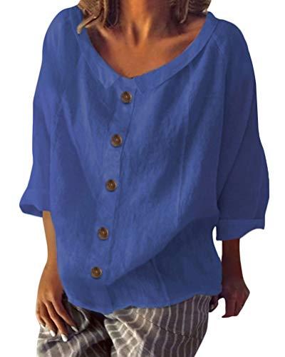Blue Womens V-neck T-shirt (Shallood Minetom Damen Sommer Elegante Leinen Einfarbig Kurzarm T-Shirt 3/4 Arm Tunika Blusen V Ausschnitt Leicht Asymmetrisch Shirt mit Knopf B Blau DE 44)