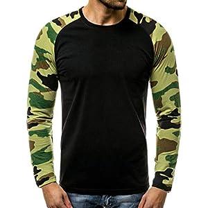 EUZeo Männer Casual Slim Fit Camouflage Patchwork Langarm T-Shirt Top Herren Rundausschnitt Langärmelig Trainingsanzug Pullover Sweatshirts Pulli Tops