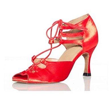 XIAMUO Nicht anpassbare Damen Tanzschuhe Latein Satin Stiletto Heel Lila/Rot/Multi-color Rot