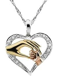 """Chaomingzhen 925 Sterling Silber Mutter hält sie Hand des Kindes Anhänger Halsketten für Damen Zirkonia Kette Länge 18 """""""