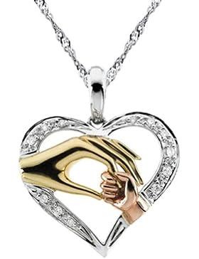 Chaomingzhen 925 Sterling Silber Mutter hält sie Hand des Kindes Anhänger Halsketten für Damen Zirkonia Kette...