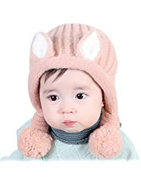 Bonnet Bébé Fille Garçon Hiver Chaud Doux Chat Forme Chapeau Unisexe  Confortable Bonnet Stretch en Tricot… 17eb20fa645