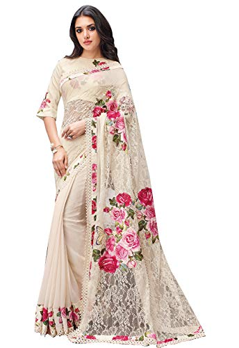 Ishin Women\'s Net Georgette Off White Printed Lace Saree With Blouse Piece