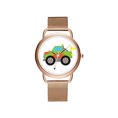 amen Mesh Gürtel ultradünne Uhr wasserdichte Uhr Quarzuhr Weihnachten Nette Racing Green Monster Truck für Jungen Armbanduhren ()