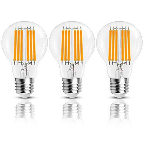Hizashi Vintage LED Edison-Birne, 11W GLS A60 LED-Glühlampen, 100W Glühlampenäquivalent, 1521LM, 3000K Warmweiß LED-Glühlampe E27 Edison-Schraube, nicht dimmbar - 3er Pack -