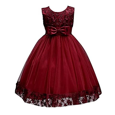 White Flower Girl Dresses For Weddings A Line Sleeveless Tank Sundress Ball Gowns Vintage Baby Lace Dress Summer 2017 New Clothes Petal Appliques Wine Red 3T (Burgundy,