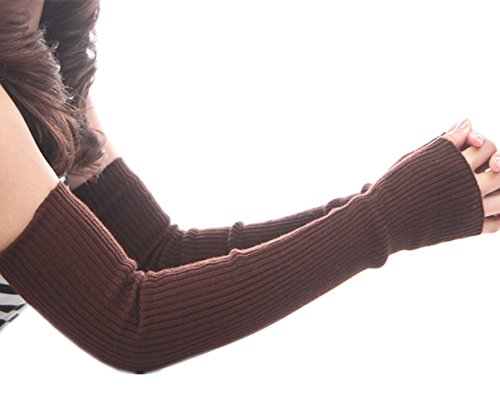 HITOP 50cm Damen Accessory vertikalen Streifen kontrahierten Trendige gestrickte fingerlose Armstulpen Fein strick lang Pulswärmer Handwärmer Stulpen (4) (Knit-streifen-stulpen)
