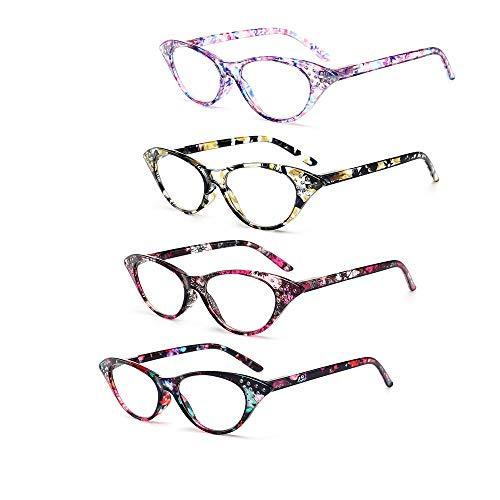 4Pack Presbyopie Brille Floral Lesebrille Runde Rahmen Brillengestell Leser Mode Damen Brille Leichte Stilvolle Presbyopie Verwenden Sie Anti-Müdigkeit,3.5