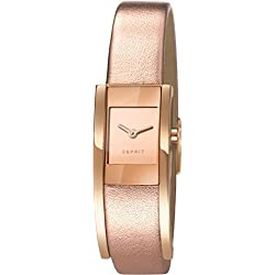 Esprit Women's Quartz Watch with Black Dial Analogue Display and Gold Leather ES107352002 Lacey