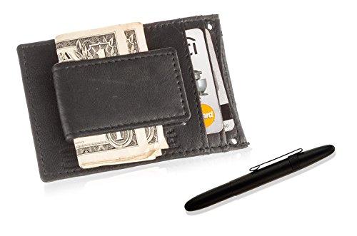 Fisher Space Stift und Geldklammer in Geschenkbox, für Herren, Leder-Geldklammer, Magnetisch Black Wallet/Black Clip Pen -