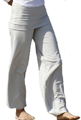 Esparto Sooraj Pantalones de yoga de algodón orgánico, color plateado, tamaño extra-small