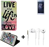 K-S-Trade Für Sony Xperia XA2 Ultra Dual-SIM Schutz Hülle 360° Wallet Case ''live Life Love'' Schutzhülle Handy Hülle Handyhülle Cover Tasche Etui inkl. ohrstöpsel (1 STK)