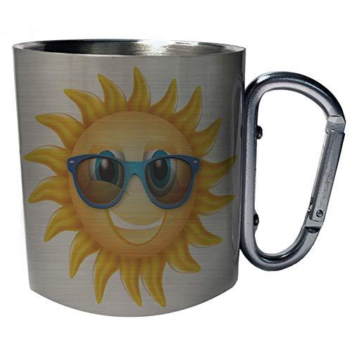 Sonne mit Sonnenbrille Edelstahl Karabiner Reisebecher 11oz Becher Tasse m42c