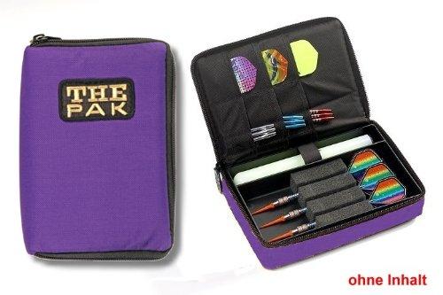 Darttasche THE PAK, Farbe violett strapazierfähige Nylon-Tasche für 1-2 Sets montierter Darts und zusätzlichen Fächern für Flys und Ersatzschäfte. (ohne Inhalt)