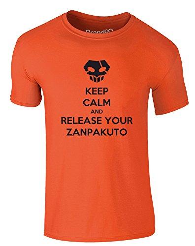 Brand88 - Keep Calm and Release Your Zanpakuto, Erwachsene Gedrucktes T-Shirt Orange/Schwarz