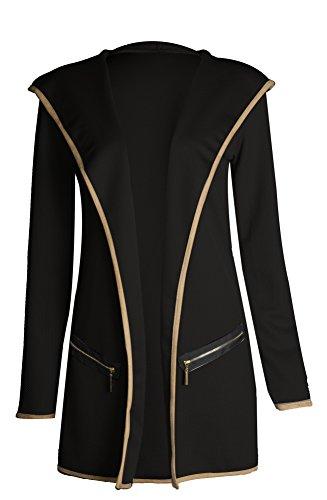 Fast Fashion - Cardigan Manches Longues Coude Ourlet Trim Veste À Capuche - Femmes Noir