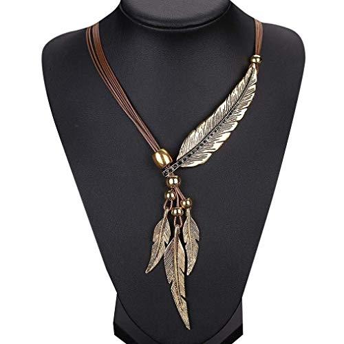TINGSU Halskette mit Anhänger Feder Antik Vintage Time ()
