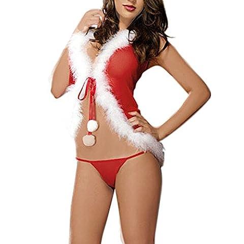 Bekleidung Loveso Underwear Weihnachten Party Kostüm Damen lingerie Rot Unterwäsche mit Kapuze Bodysuit + Underwear (Square Pants Kostüm)