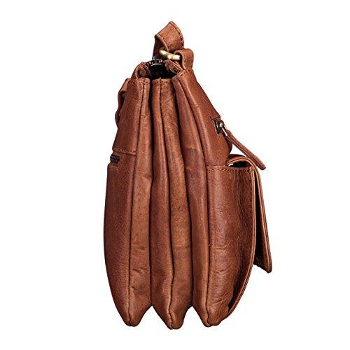 STILORD 'Leon' Schultertasche klein Leder Herren Damen Umhängetasche Vintage Handtasche Ledertasche Crossbody Herrentasche, Farbe:cognac - braun cognac - braun