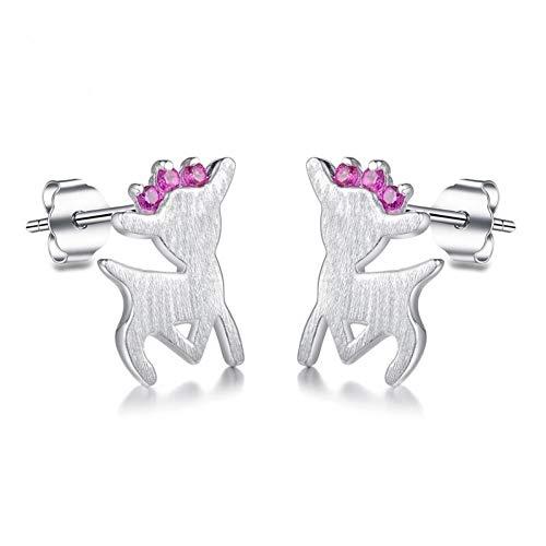 Sterling Silber Weihnachtsschmuck Elch Hirsch Ohrringe für Frauen Mädchen Geschenk ()