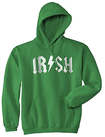 Irish Rockstar Band Logo Hoodie Funny Saint Patricks Day Rock Parody Sweatshirt (green) L